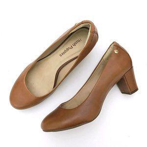 HUSH PUPPIES Women's Tan Leather Chunky Heels 6